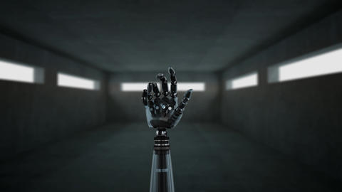 Robot hand inside an empty room Animation