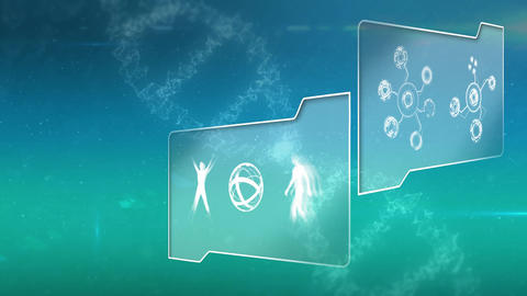 File folders with science symbols and illustrations Animation