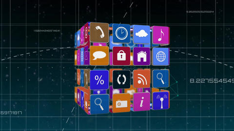 Online and application icons for social media in squares in futuristic background Animation