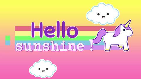 Animation of words Hello Sunshine appearing with unicorn 4k Animation