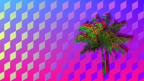 Colorful diamond patterns and palm tree Animation