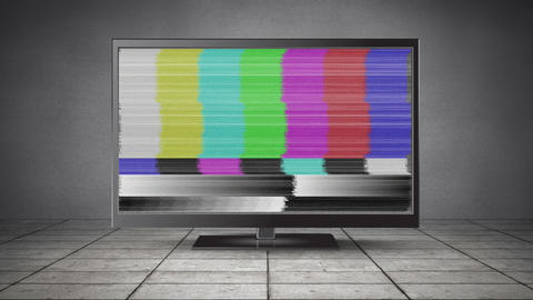 Flat screen television with a blank channel Animation
