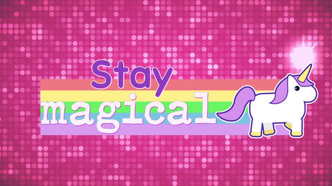 Stay Magical banner with a unicorn in a rainbow Animation
