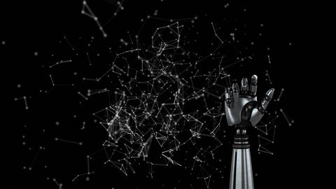 Robot arm on a background filled with constellations Animation
