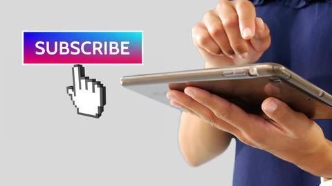Subscribe button with pointing hand on social media Animation