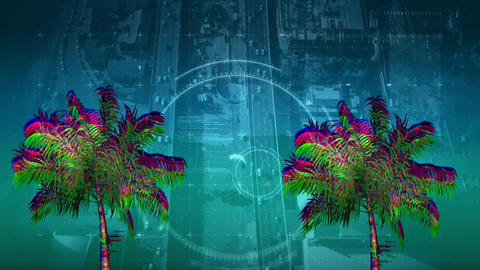 Colorful palm tree Animation
