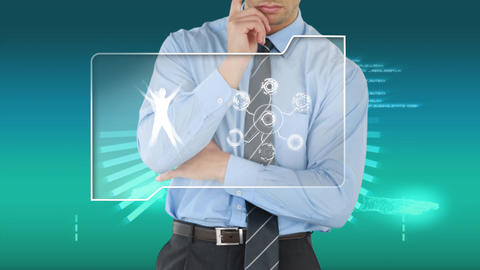Businessman using a touchscreen on a futuristic interface Animation