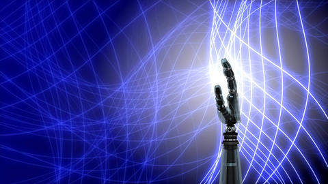 Robot hand on an abstract background Animation