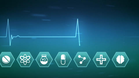 Medical science symbols with life line Animation