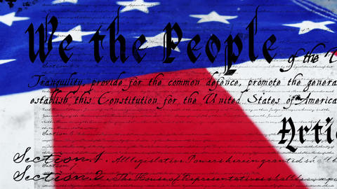 Written constitution of the United States and a flag 4k Animation