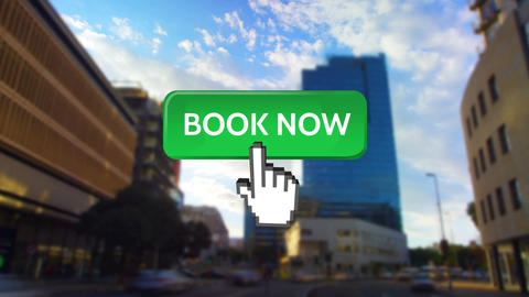 Book now button with pointing hand Animation