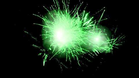 Green fireworks 4k Animation