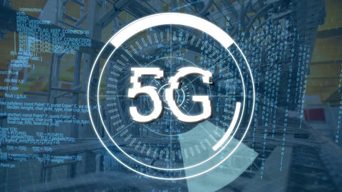 5G written in the middle of a futuristic circles and cables Animation