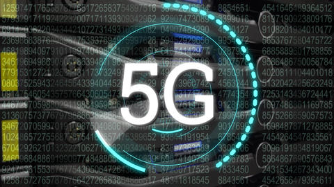 5G written in the middle of a futuristic circles Animation