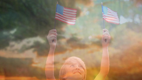 Child holding out American flags and the sky Animation