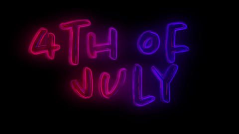 4th of July text 4k Animation