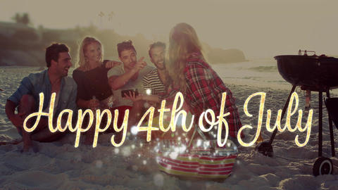 Happy 4th of July greeting and friends celebrating at the beach 4k Animation