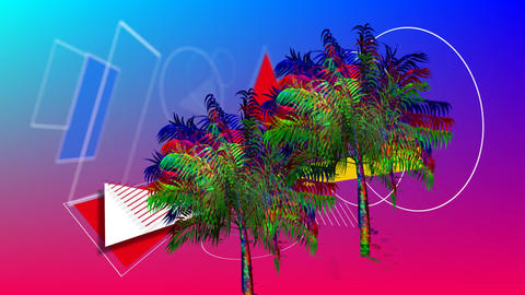 Palm trees and different shapes Animation