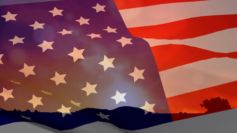 American flag and silhouette of hill Animation
