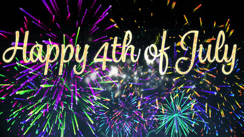 Happy 4th of July greeting and fireworks Animation