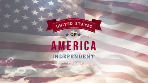 United States of America, Independent since 1776 text in banner and flag Animation