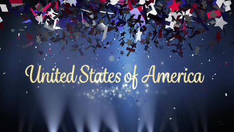 United States of America text with lights and confetti Animation