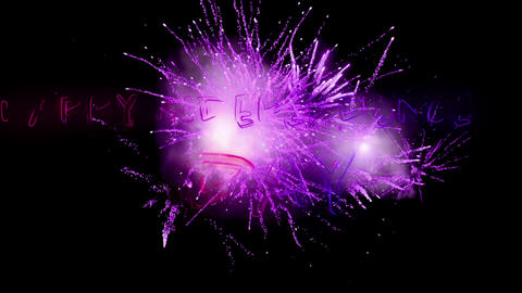 Happy Independence Day greeting and violet fireworks 4k Animation