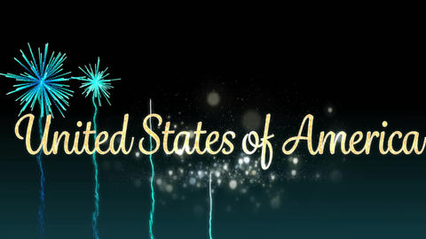 United States of America text and fireworks Animation