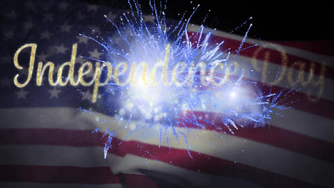 Independence day text with flag and fireworks Animation