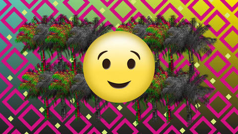Emoji, palm trees, and square pattern Animation