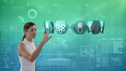 Woman looking at medical icons and a futuristic interface in the background Animation