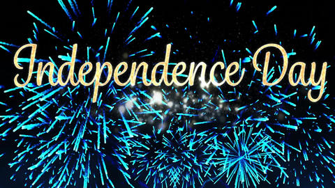 Independence day text and fireworks Animation