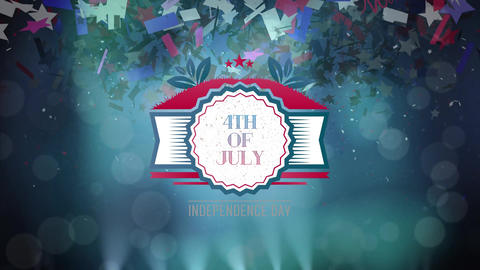 4th of July text in banner with confetti Animation