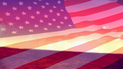 American flag and sunset Animation