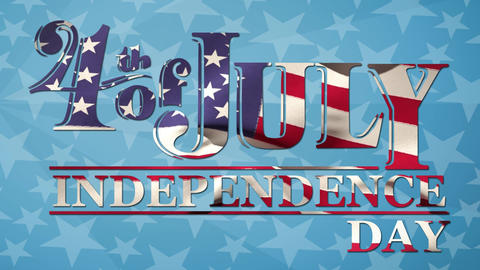 4th of July, Independence Day text and American flag Animation