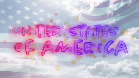 United States of America text and flag Animation