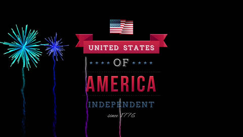 United States of America, Independent since 1776 text in banner and fireworks Animation