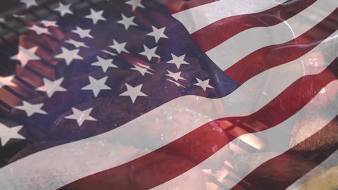 American flag and barbecue for fourth of July Animation
