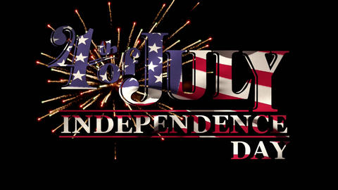 4th of July, Independence Day text with American flag and fireworks Animation