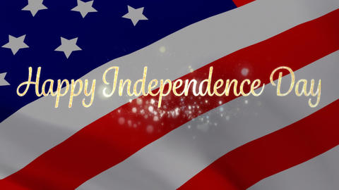 Happy Independence Day greeting and flag Animation