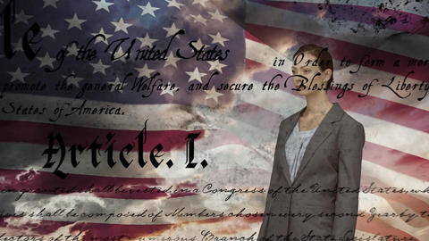 Business woman and written constitution of the United States with flag and the sky Animation