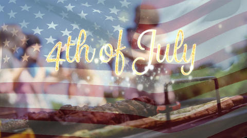 Group of friends celebrating and an American flag with a 4th of July text Animation
