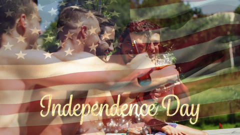 Group of friends in a pool and the American flag with an Independence day text Animation