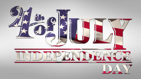 4th of July, Independence Day text with American flag Animation