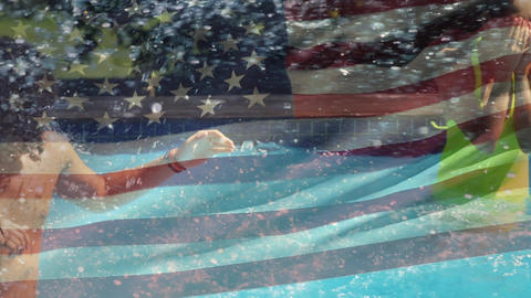 Group of friends in a pool and the American flag for fourth of July Animation