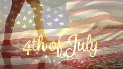 Woman walking by the beach and the American flag and a 4th of July text Animation