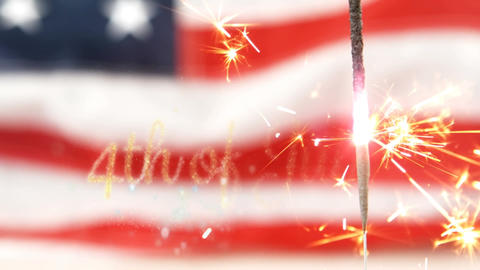 American flag behind a sparkle and a 4th of July text Animation