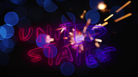 United States text and a sparkle for fourth of July Animation