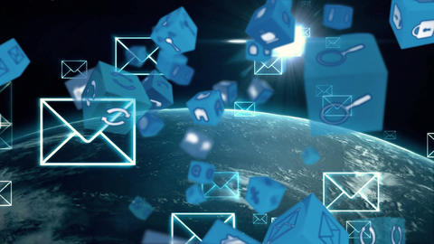 Online and application icons in cube and globe with digital envelope Animation