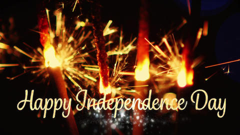 Happy Independence Day text and sparkles for fourth of July Animation